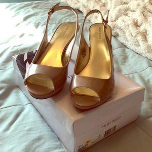 Nine West light tan patent heels